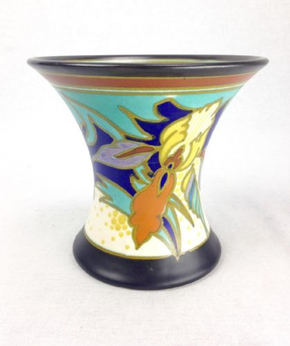 Gouda Pottery Vase 1929 / Art Deco Antique - Blue - Yellow - Brown 1920's